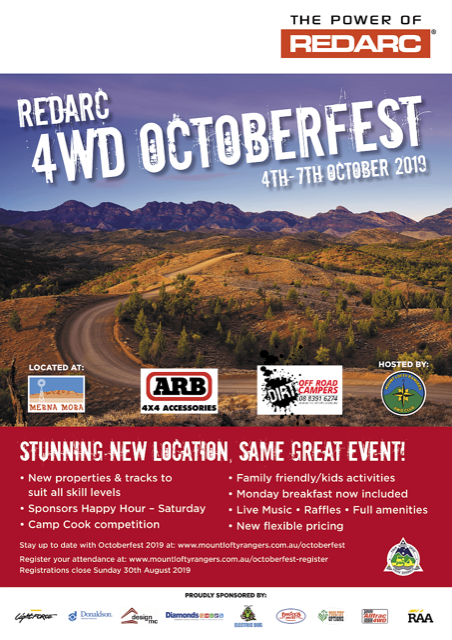 REDARC 4WD Octoberfest 4th-7th October 2019.